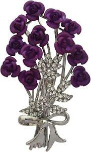 Purple Enamel & Crystal Flower Bouquet Brooch Rose Cluster Brooch Lapel Pin New