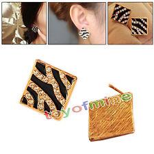 Piazza cristallo strass Zebra Leopard orecchino Ear Stud Pins Gioielli