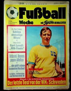 FUSSBALL WOCHE, Nr. 17/1974:  IN FARBE: NATIONAL-ELF SCHWEDEN, WATTENSCHEID 09