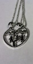 Silver Necklace 15 Inches New Boy and Girl Love Connecting Heart