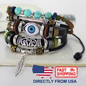 Tribal Evil Eye Synthetic Turquoise Unisex Men Women Leather Wristband Bracelet