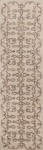 """Ivory Floral Traditional Oriental Runner Rug Hand-Tufted Carpet 2' 7""""x9' 10"""" New"""