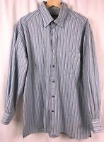 Ermenegildo Zegna Men's Long Sleeve Button Down Shirt Blue Striped Size XXL