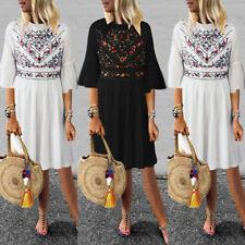 ZANZEA Womens Bohemia Floral Ladies Summer Beach Dress Holiday Sun Dresses Plus
