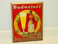 Vintage Budweiser Beer, Hang Metal Sign, Cardboard Backing, Original