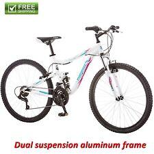 "Mongoose Mountain Bike 26"" Women Dual Suspension Aluminum Frame Bicycle Shimano"