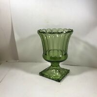 Vintage Green Glass Pedestal Vase Fluted Footed Avocado Green Planter