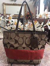 Coach Signature Stripe Classic Khaki Orange Tote Shoulder Handbag 10124