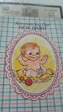 Vintage Baby Birth Announcement 9 Cards and Envelopes Crystal Greetings