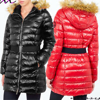 NEW Womens PUFFER Faux Fur PADDED Ladies JACKET COAT Black Size 8 10 12 14 1LONG