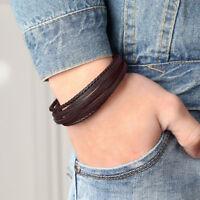 Black/Brown Charm Jewelry Braided Genuine Leather 316L Steel Bracelet Wristband