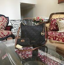 NWT,MICHAEL KORS ANITA MK MONOGRAM LARGE HOBO/CROSSBODY HANDBAG+WALLET$516 Brown