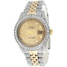 Rolex DateJust 16013 Diamond Watch Two Tone 18K / Steel 36mm Champagne Dial 8 CT