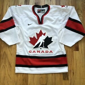 Men's Vintage Nike Team Canada White Red Black Olympic Ice Hockey Jersey Sz S