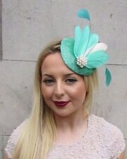 Mint Jade Green Cream Feather Pillbox Hat Fascinator Hair Clip Races Vtg 2607