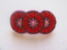 Spirit of Nature Hair Clip Seed Beads- 3 circles- orange red pink gray