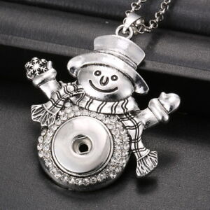 Hot Women Crystal Jewelry Necklace Pendant Fit 18mm Snap Button Snowman