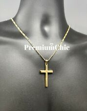Mens Womens Stainless Steel Gold Figaro Chain Necklace w Cross Pendant Jewelry
