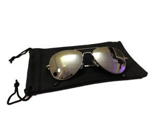Kleine Sonnenbrille Pilotenbrille Fliegerbrille Silber verspiegelt Top Gun Q 1