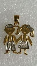 14k Real Yellow Gold Twin Baby girl Boy Child Kids  pendant