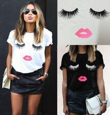 Hot Womens Eyelash Lip Print Blouse Short Sleeve T Shirt Casual Tops UK Size6-20