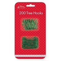 200 x Christmas Xmas Green Wire Plastic Tree Hooks Bauble Ornament Decoration
