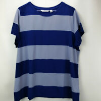 Isaac Mizrahi Live! Rugby Striped Knit T Shirt Ink Blue 1X A278275