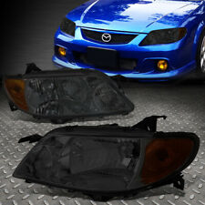 FOR 01-03 MAZDA PROTEGE SMOKED HOUSING AMBER CORNER HEADLIGHT REPLACEMENT LAMPS