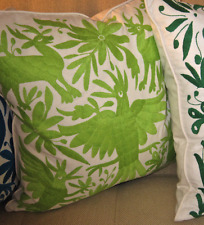 """LIME GREEN EMBROIDERED Otomi Indian Pillow Cover 20 x 20"""" FAB!!  Best Made"""