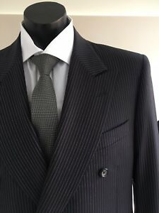 CANALI - Peak Lapel Pure Wool - Lilac Pinstripe D/B Suit 40R - Made In Italy