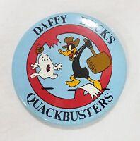 Vintage pinback button Warner Bothers Daffy ducks quackbusters 1988