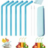 6PCS Drinking Straw Reusable Bent Glass Party Juice Straws Brushes Cloth Storage