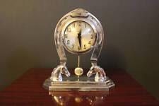 Vintage Horse Clock, Howard Chrome Metal Horseshoe Mantle Clock with Pendulum