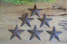 "SET of 6 ~ 3 1/2""  RUSTY BLACK BARN STARS Metal Tin Primitive Country 3.5"""