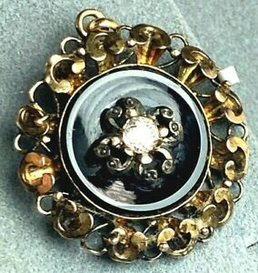 Antique Victorian 18K Rose Gold Old European Diamond Onyx Scroll Frame Pendant