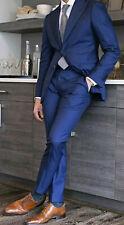 Hombre Azul Trajes Elegante Dos Botón Diseñador Novios Boda Cena Abrigo + Pants