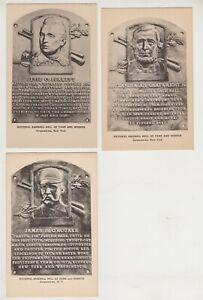 3 Black & White Hall of Fame Plaque Cards - Burkett, Cartwright, O'Rourke
