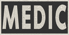 MEDIC Iron-On Patch  Morale Tactical Emblem White