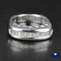 Natural 0.57 Ct Baguette Diamond Wedding Band Anniversary Ring In 14K White Gold