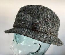 HARRIS TWEED MENS TRILBY HAT by Greenwood's blue/grey/green 100% WOOL 7 57