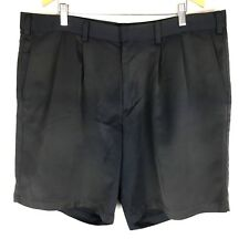Dockers Golf Mens Shorts 38 Black Pleated Front Microfiber Casual