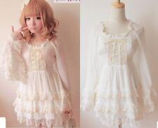 Kawaii Cute Sweet Dolly Gothic Lolita Princess Sleeve Chiffon cake Dress White