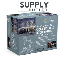 Snowtime 100 Connectable ICICLE WARM White LED Christmas Indoor Outdoor Lights