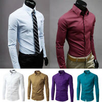 Men Casual Shirt Cotton Slim Fit Long Sleeve Formal Business Dress Shirt Top