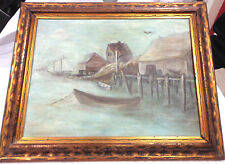 antique oil painting and frame,boats,fishhouse and dock