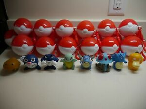 Vintage 1999 Pokemon Burger King Figures Toy / Pokeballs - Squirt Toy Set of 8