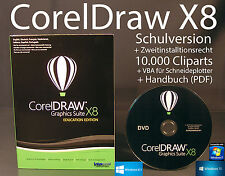 Corel Draw Graphics Suite X8 Vollversion Box + DVD Cliparts VBA Schulversion NEU