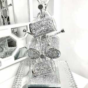 NEW Crushed Diamond Mug Tree Cup Holder Silver with 6 Cups crystal filled Mugs