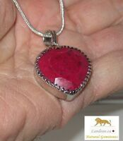 46 ct  Opaque Ruby Heart Pendant & Silver Necklace