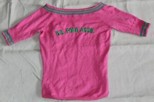 Pink and Green US Polo Association Short Sleeve Sweater Size Small